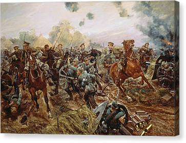 The First Vc Of The European War, 1914 Canvas Print by Richard Caton II Woodville