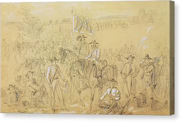 The First Virginia Cavalry At A Halt Canvas Print by Alfred R Waud