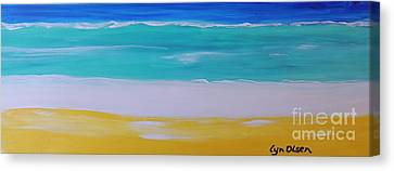 Canvas Print featuring the painting The First Wave by Lyn Olsen