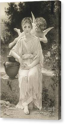 The First Whisper Of Love After Bouguereau Canvas Print by  John Douglas Miller