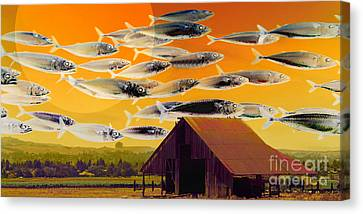 The Fish Farm 5d24404 Long Canvas Print by Wingsdomain Art and Photography
