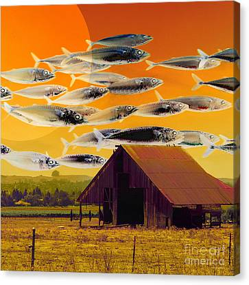The Fish Farm 5d24404 Square Canvas Print by Wingsdomain Art and Photography