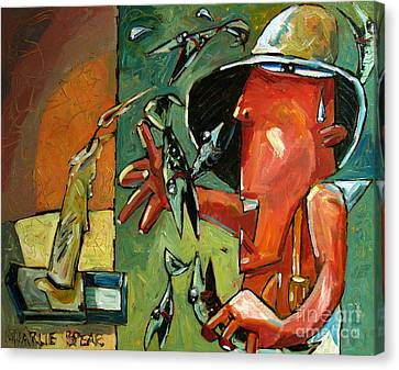 The Fish Juggler In The White Hat In Candlelight Canvas Print by Charlie Spear