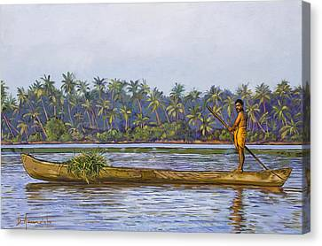 The Fisherman And His Boat Canvas Print by Dominique Amendola
