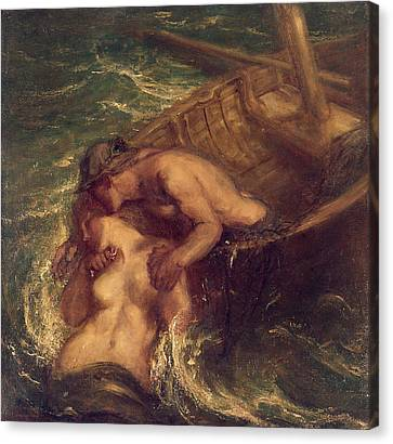 The Fisherman And The Mermaid, 1901-03 Canvas Print by Charles Haslewood Shannon