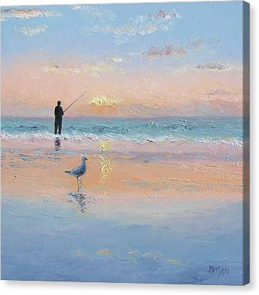 The Fisherman And The Seagull Canvas Print by Jan Matson
