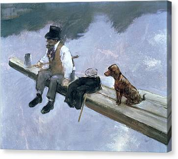 The Fisherman, Detail Of A Man Fishing Canvas Print by Jean Louis Forain