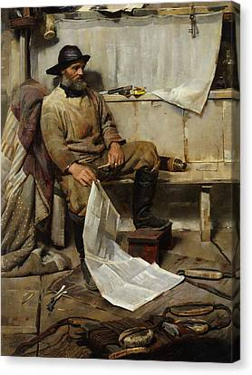 Old Man With Beard Canvas Print - The Fisherman by Frank Richards