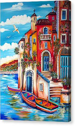 The Fishermen Villa By The Amalfi Coast Canvas Print by Roberto Gagliardi