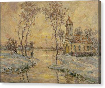 The Fishermens Chapel Under Snow Canvas Print by Henri Duhem
