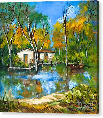 Canvas Print featuring the painting The Fishing Camp by Dianne Parks