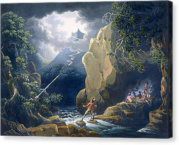 The Flash Of Lightening Caught Canvas Print by Philip James de Loutherbourg