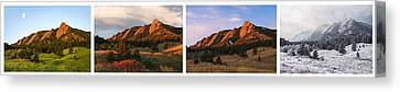 The Flatirons - Four Seasons Panorama Canvas Print by Aaron Spong