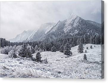 Crisp Canvas Print - The Flatirons - Winter by Aaron Spong