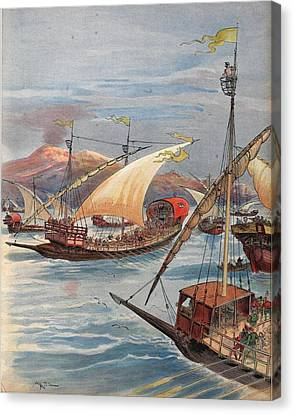 The Fleet Of Doria, Naples Canvas Print by Albert Robida