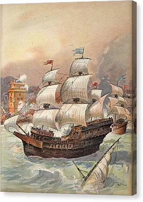 The Fleet Of Jean Ango Blocks The Tagus Canvas Print by Albert Robida