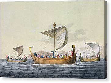 Sailboats Canvas Print - The Fleet Of William The Conqueror by Italian School