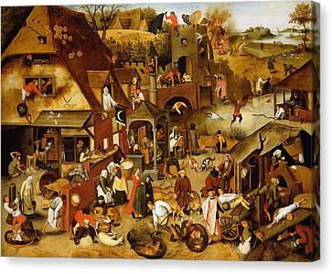 The Flemish Proverbs Oil On Canvas Canvas Print by Pieter the Younger Brueghel