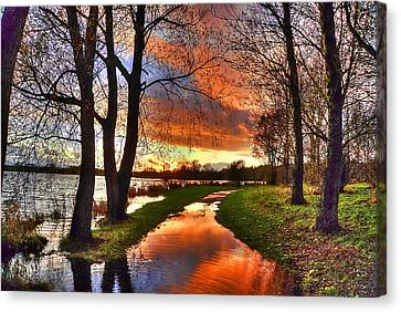 The Flooded Sunset Path Canvas Print by Kim Shatwell-Irishphotographer