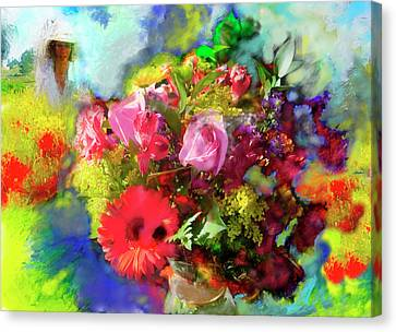 Canvas Print featuring the painting The Florist by Ted Azriel