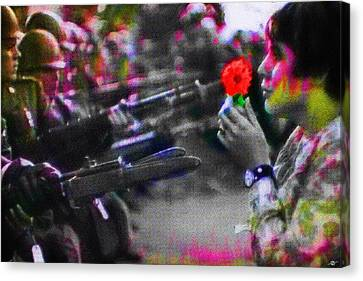 The Flower And The Bayonet Dot Pattern Red Canvas Print by Tony Rubino