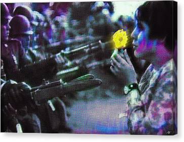 The Flower And The Bayonet Dot Pattern Yellow Canvas Print by Tony Rubino
