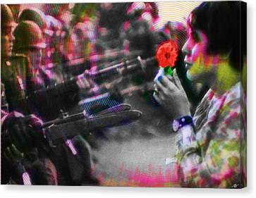 The Flower And The Bayonet Red Canvas Print by Tony Rubino
