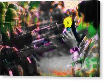 The Flower And The Bayonet Yellow Canvas Print by Tony Rubino