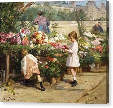 The Flower Market By The Seine Canvas Print by Victor Gabriel Gilbert
