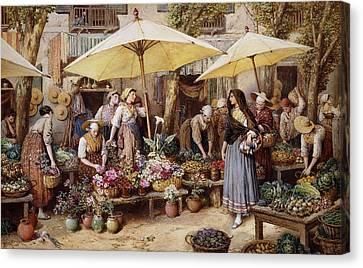 The Flower Market Canvas Print by Myles Birket Foster
