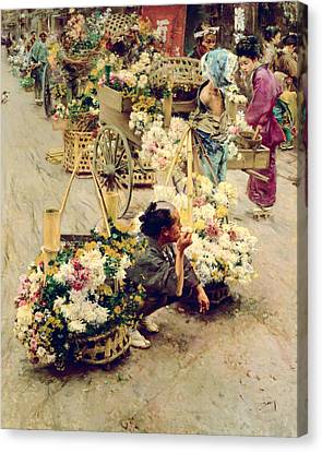 The Flower Market, Tokyo, 1892 Canvas Print by Robert Frederick Blum