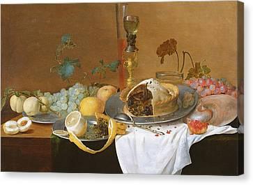 The Flute Of Wine  Canvas Print by Jan Davidsz de Heem