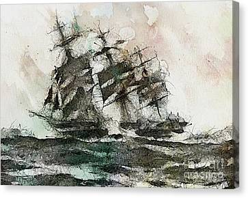 Water Vessels Canvas Print - The Flying Dutchman by Dragica  Micki Fortuna