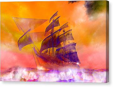 The Flying Dutchman Ghost Ship Canvas Print by Carol and Mike Werner