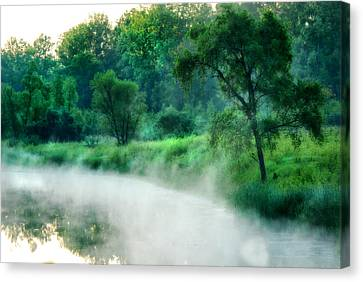 The Foggy Lake Canvas Print by Kimberleigh Ladd