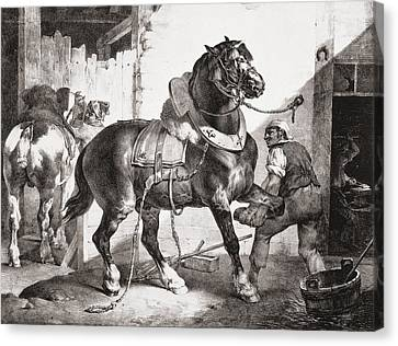 Blacksmith Canvas Print - The Forge, From Etudes De Cheveaux, 1822 by Theodore Gericault