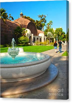 Botanical Building And Fountain At Balboa Park Canvas Print by Claudia Ellis