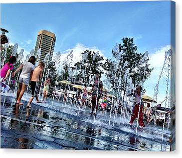 The Fountains At The Inner Harbor Canvas Print