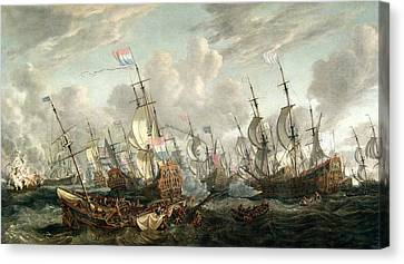 Water Vessels Canvas Print - The Four Days Battle, June 1666 by Abraham Storck