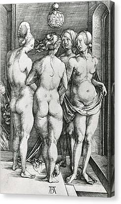 The Four Witches Canvas Print by Albrecht Durer or Duerer