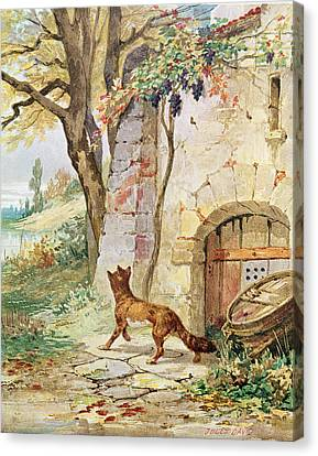 The Fox And The Grapes, Illustration For Fables By Jean De La Fontaine 1621-95 Colour Litho Canvas Print