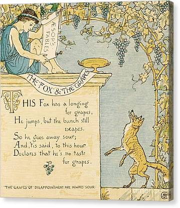 The Fox And The Grapes Canvas Print by Pg Reproductions