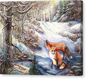 Canvas Print featuring the painting The Foxes Of Panel Mine Road by Patricia Schneider Mitchell