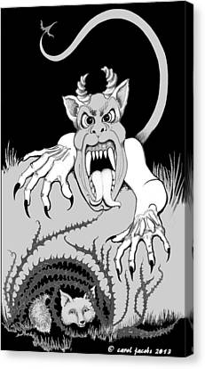 Canvas Print featuring the digital art The Fox's Fiend  by Carol Jacobs