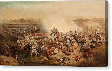 Infantryman Canvas Print - The Fray Between Prussian And Austrian Cuirassiers Infantrymen by Celestial Images