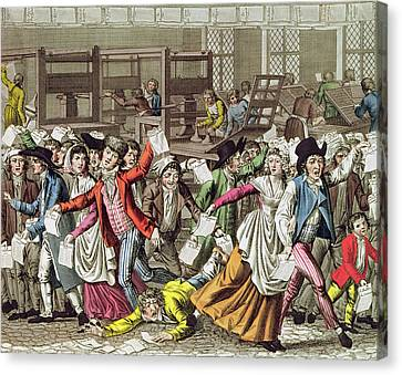 The Freedom Of The Press, 1797 Coloured Engraving Canvas Print by French School
