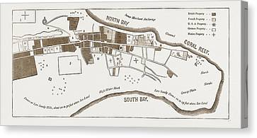 Historic Site Canvas Print - The French In Madagascar, Plan Of Tamatave by Litz Collection