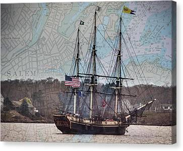 Ship Canvas Print - The Friendship Sails Home To Salem by Jeff Folger