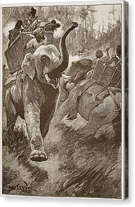 The Frightened Elephants Rushed Back Canvas Print by Stanley L. Wood