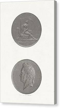 The Front And Back Of A Coin To Commemorate The 25th Canvas Print by Jan Dam Steuerwald
